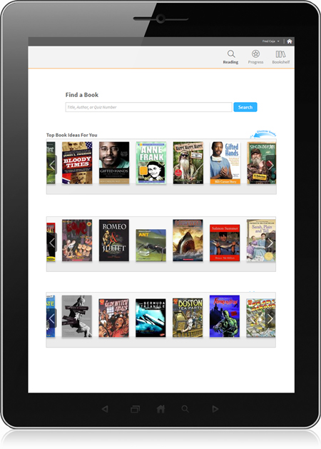 Tablet showing the book discovery feature in Accelerated Reader